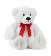 "22"" White Bear w/Red Bow Gift"