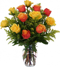 Orange & Yellow Roses Vase