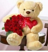"CUDDLES OF LOVE BEAR WITH ROSES 24""  36"" 46"" BEAR WITH ONE DOZEN ROSES"