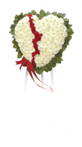 """24"""" BROKEN HEART WITH WHITE DAISY/RED CARN(S)  STANDING SPRAY ON 5'-6"""" EASIL"""