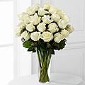 24 Elegant White Roses InVase