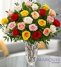 24  Hand Selected, Long Stemmed  Roses Waterford Crystal  Vase