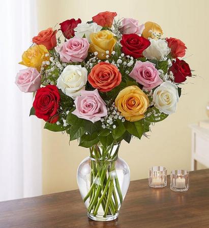 24  Long Stem Assorted Roses Vase Arrangement