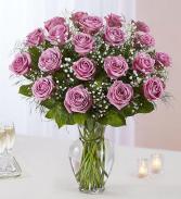 24 Long Stem Lavender Roses Vase Arrangement