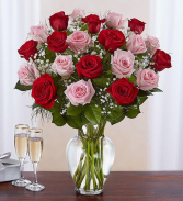 24 Long Stem Pink & Red Roses Vase Arrangement