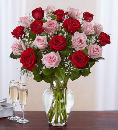 24 Long Stem Pink & Red Roses Vase Arrangement