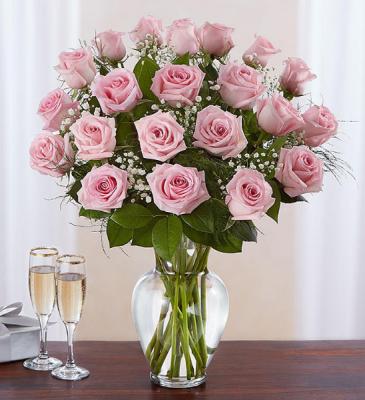 24 Long Stem Pink Roses Vase Arrangement