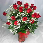 24 LONG-STEM RED ROSES ARRANGED