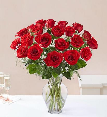 24 Long Stem Red Roses Vase Arrangement