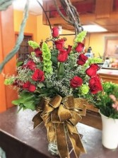 24 long stemmed imported roses vased Valentines Day