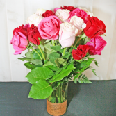 24 LONG STEM ROSES-ASSORTED Roses