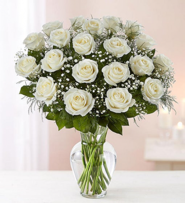 24  Long Stem White Roses Vase Arrangement