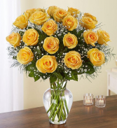 24 Long Stem Yellow Roses Vase Arrangement