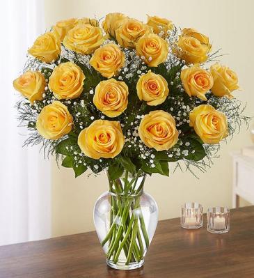 24 Long Stem Yellow Roses Vase Arrangement