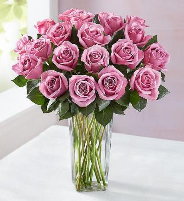 24 Lush Lavender Roses Vased