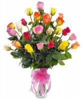 24 Mixed Color Rose Arrangment vase Fresh Arrangement