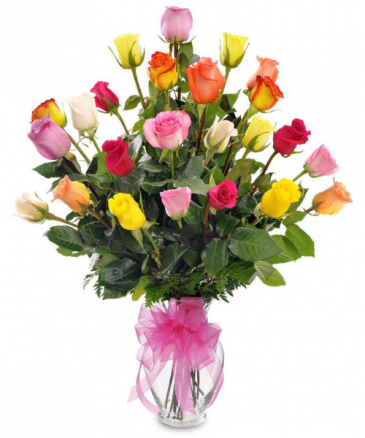 24 Mixed Color Rose Arrangement Vase Fresh Arrangment