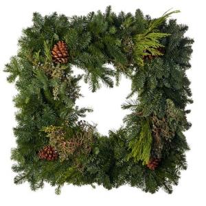 "24"" Mixed Greens Square Wreath   in Auburn, AL   AUBURN FLOWERS & GIFTS"