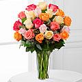 24 Mixed Pastel Roses In Vase  in Fair Lawn, NJ | Dietch's Florist