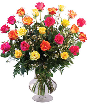 24 Mixed Roses Vase Arrangement  in Rowley, MA | COUNTRY GARDENS FLORIST