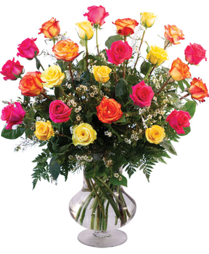 24 Mixed Roses Vase Arrangement