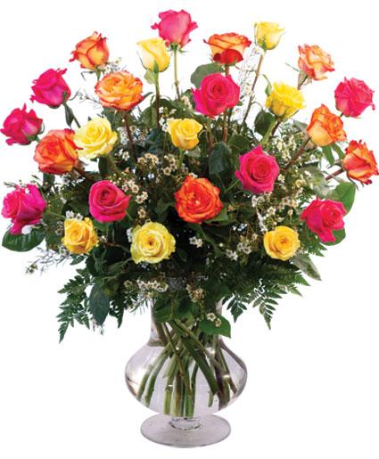 24 Mixed Roses Vase Arrangement