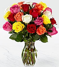 24 Multi-Color Roses Arrangement