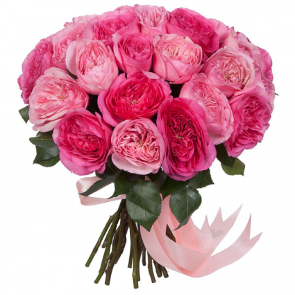 PINK PIANO GARDEN ROSE BOUQUET WITH VASE