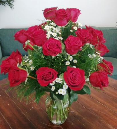 24 Radiant Red Roses Arrangement