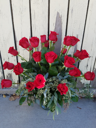 24 Radiant Red Roses vase arrangement, 2 dozen roses with seeded eucalyptus