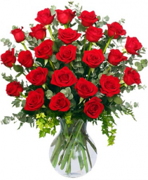 24 Radiant Red Vase of Red Roses