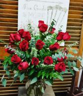 24 Radiant Roses Premium Vase Arrangement