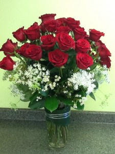 24 RADIANT ROSES Vase Arrangement