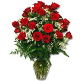 24 Radiant Roses Vase Fresh Arrangment