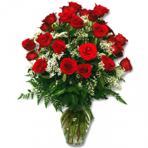 24 Radiant Roses Vase Fresh Arrangment in Lake City, FL | LAKE CITY FLORIST