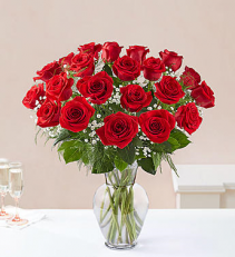 24 RED LONG STEM ROSES