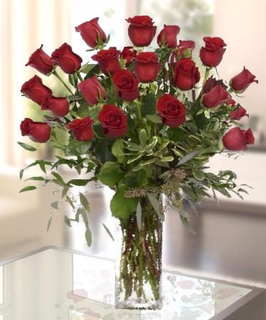 2 doz  Red Roses vased