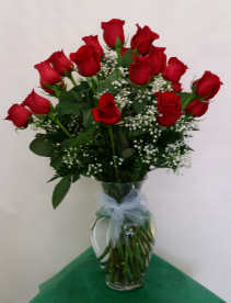 24 Red Roses Vase Arrangement