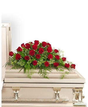 24 Red Roses Casket Spray Sympathy in Nevada, IA | Flower Bed