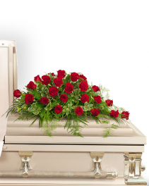 24 Red Roses Casket Spray Sympathy
