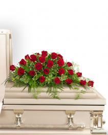 24 Red Roses Casket Spray Sympathy Arrangement