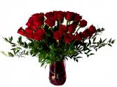 24 Red Roses with magnificent vase