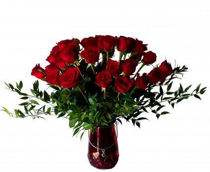 24 Red Roses with magnificent vase Valentines' Arrangement