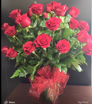 24 Red Roses with red bow Red Roses with red bow
