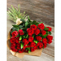 24 Red Roses wrapped arrangement