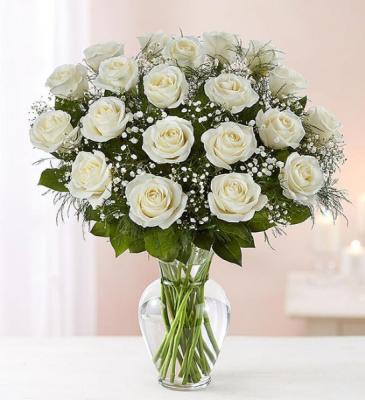 24 White Roses Rose Vase