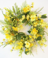 """24"""" Yellow Artificial Floral Wreath"""