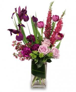 VIOLET POTPOURRI Arrangement in Riverside, CA | Willow Branch Florist of Riverside
