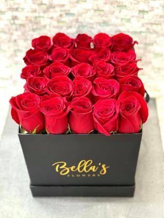 Modern Square Rose Box 25 Fresh Red Roses