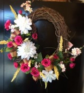 """25"""" Oblong Pink and White Grape Vine Wreath Wreath"""